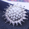 Women Safety Pin Brooch Sunflower Rhinestone Brooches Jewelry Fashion For Ladies Dress Women Bag Halloween Christmas Gifts XZ002