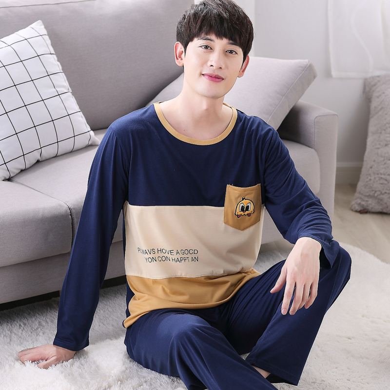 Man Pajamas WAVMIT LongCotton And Autumn Day Pajamas Mens Thin Section Leisure Time Home ...