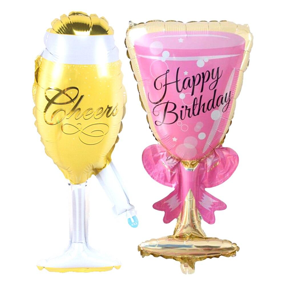 Розовый Большой шампанское Кубок алюминиевой фольги шары бокал Globos свадебные подарки  ...