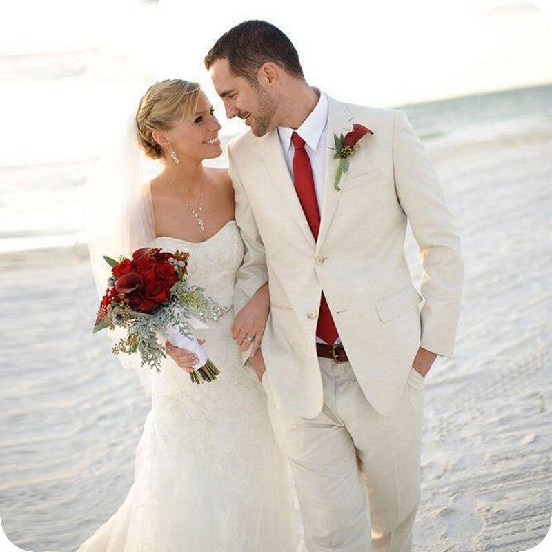 Summer Beach Beige Linen Men Suits For Wedding Casual