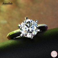 Ataullah Luxury 1Carat SONA Diamond Rings for Women 925 Sterling Silver Wedding Rings Fine Jewelry Anel Anillos RWD505 2