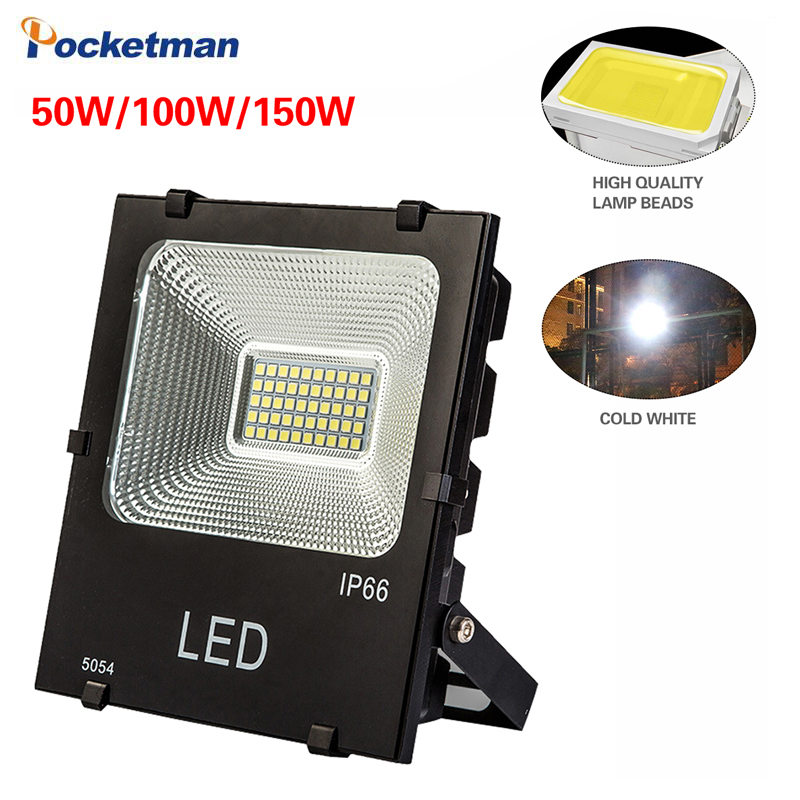 LED Square Flood Light 110V 220V High Light Outdoor Lamp 50W 100W 150W Waterproof Engineering Projection Lamp 6500K Cold White|LED Spotlights| |  - title=