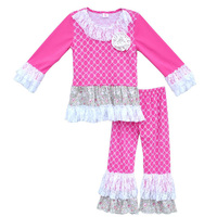 New Designs Girls Boutique Clothing Sets Full Sleeve Top Lace Flower Ruffle Pants Hot Pink Fall Winter Cheap Baby Clothing F050