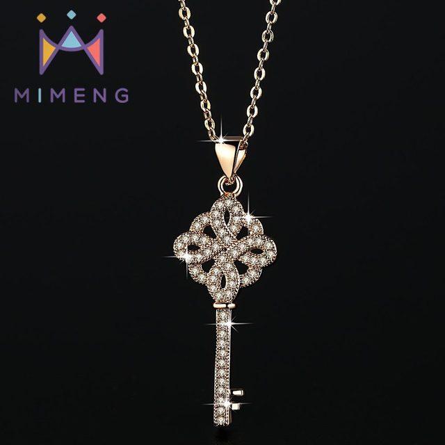 9b52a1f89a4e3 MiMeng الذهبي اللون مفتاح على شكل قلادة ميدالية مفاتيح كريستال قلادة  مجوهرات قلادة نسائية M40