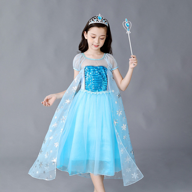 For Height 100 to 150cm Girls Dress Halloween Costume Anna Princess Ginderella Christmas Kids Cosplay Party Elsa Dresses