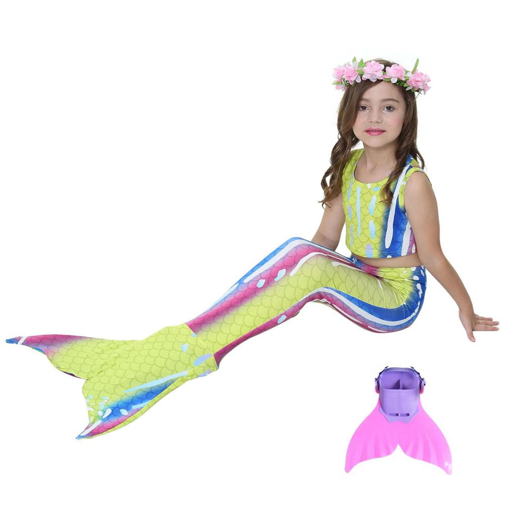 Enfants queue de sirène pour la natation robe Cosplay filles nagable queue de sirène enfants Cosplay Costumes tenue avec Monofin maillot de bain