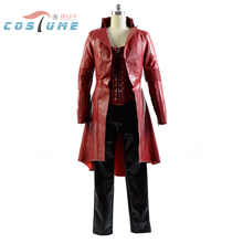 Free DHL Captain America 3 Civil War Cosplay Costumes Wanda Maximoff Scarlet Witch cosplay costume Fancy Leather suit costume