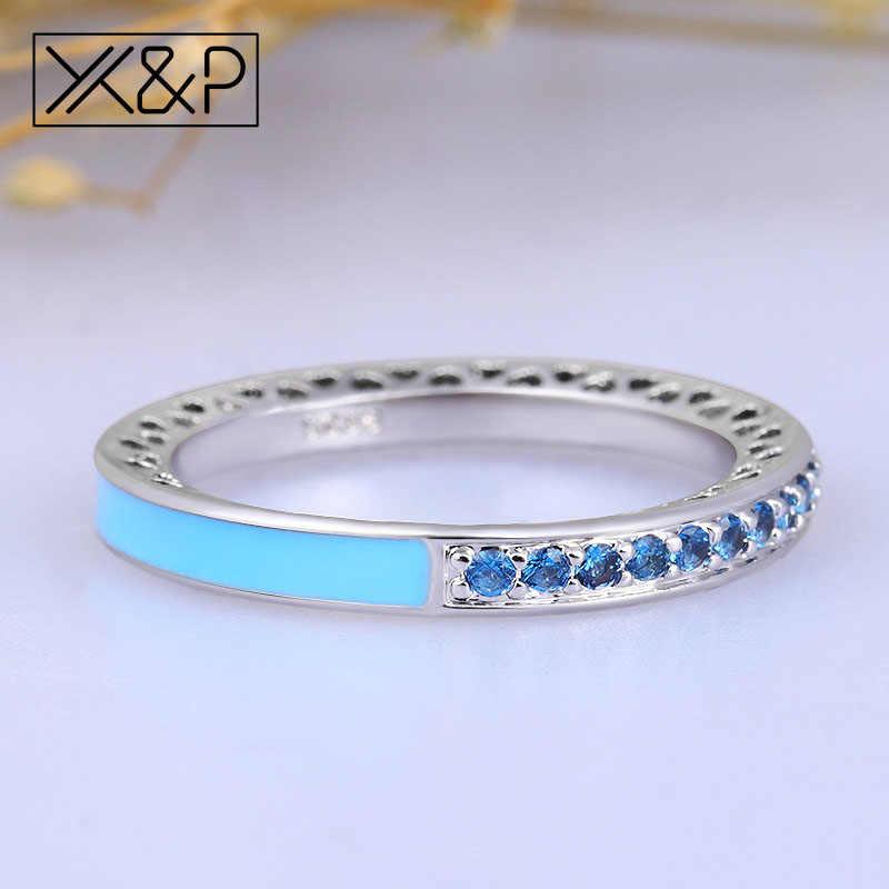 X & P Charm แฟชั่น 100% 925 แหวนเงินสำหรับผู้หญิงผู้ชายวันแม่ Radiant Hearts Light สีชมพูเคลือบ CLEAR แหวนเครื่องประดับ