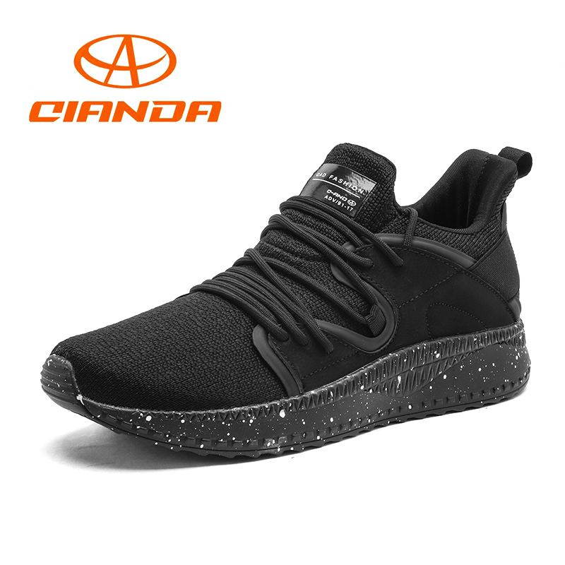 QIANDA Breathable Running Shoes Men Mesh Cushioning Man Sneakers Lightweight Comfortable Lace-up Sports Shoes for Mens Marathon