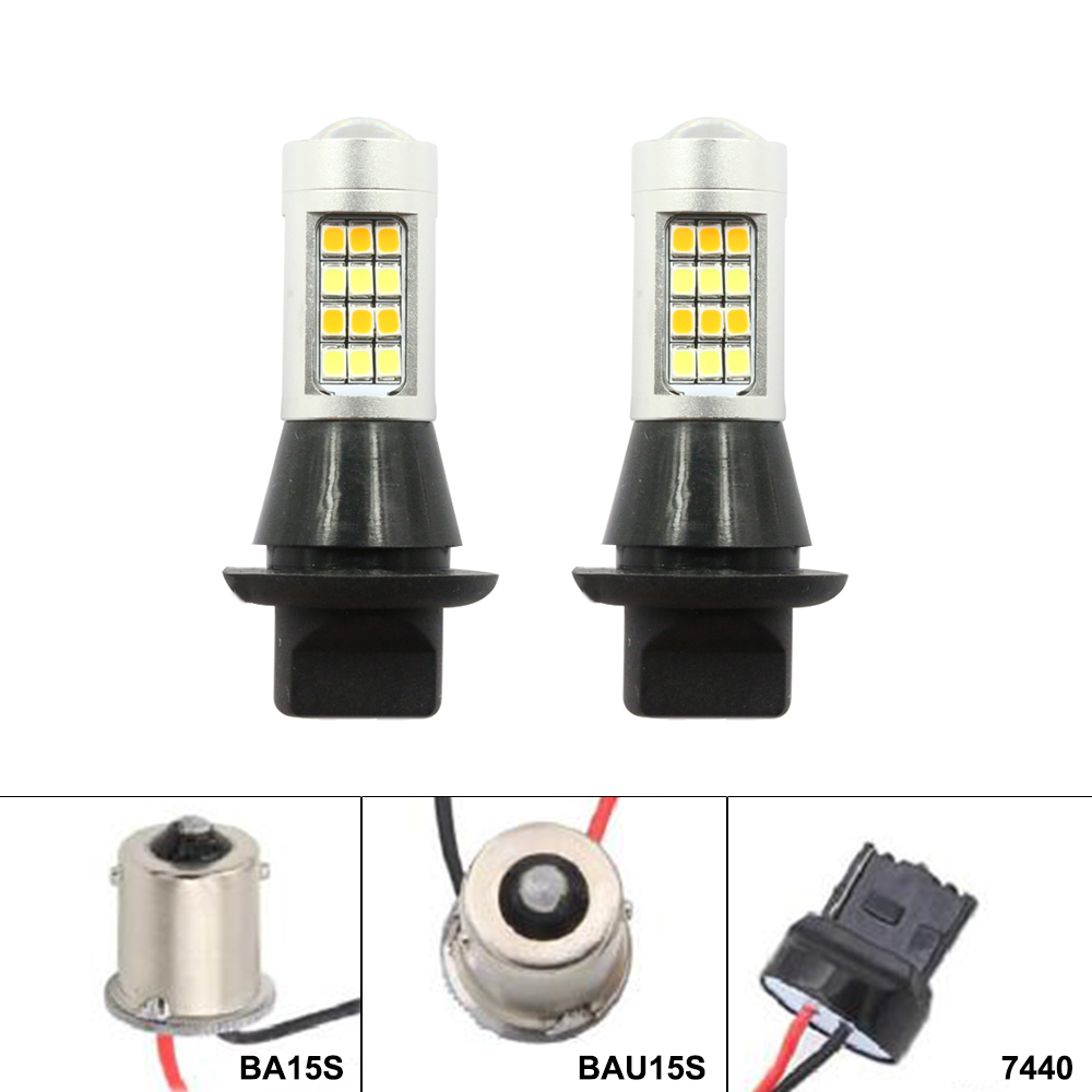 Daytime Running Light+Turn Signal ba15s BAU15S 1156 p21w 42led T20 W21W WY21W 7440 light Dual Mode DRL LED External Lights car led t20 7440 wy21w 1156 bau15s bay15s daytime running light