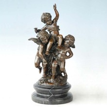 bronze child with cherubs sculptures figurine  arts and crafts for kids gifts home decoration