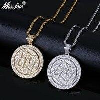 MISSFOX Hip Hop Rap Star Style Number 69 Letter Rotatable Double Disc 24K Gold Plated AA Cubic Zirconia Men'S Necklaces Pendants