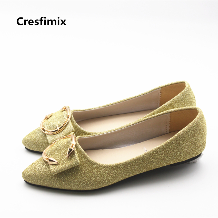 Cresfimix zapatos de mujer women fashion spring summer silver flat shoes lady sexy party golden flats female cute slip on shoes cresfimix zapatos de mujer women casual spring