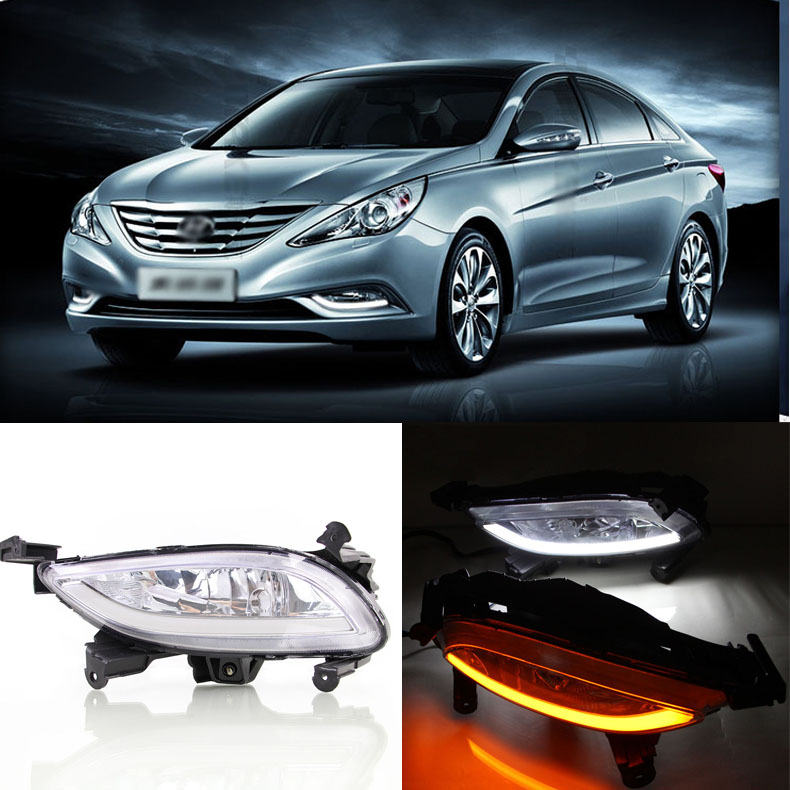 Ownsun Brand New Updated LED Daytime Running Lights DRL With Black Fog Light Cover For Hyundai Sonata 2014 цена и фото