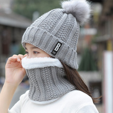 New Women's Fashion 2 Sets of Winter Warm Hat Scarf Suit Ladies Knit Suit Outdoor Thick Windproof Riding Warm Accessories цены онлайн