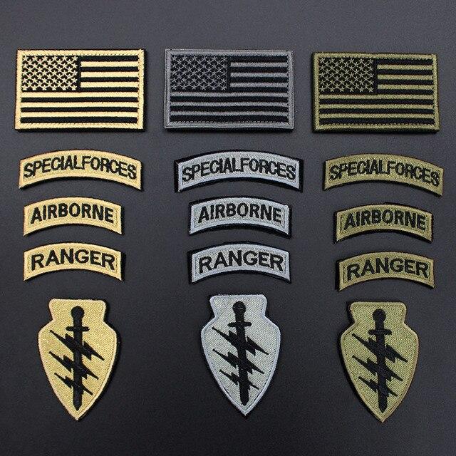 5 pçs set Americano Bandeira Patches Militares Ranger Do Exército Airborne Patch  Emblema Vara por 93d8fec1df7