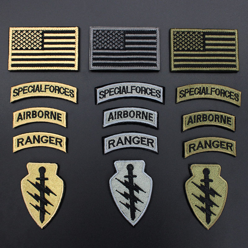 5pcs / set American Army Military Patches Bandiera Ranger Airborne Badge Patch Stick on per Abbigliamento Backback