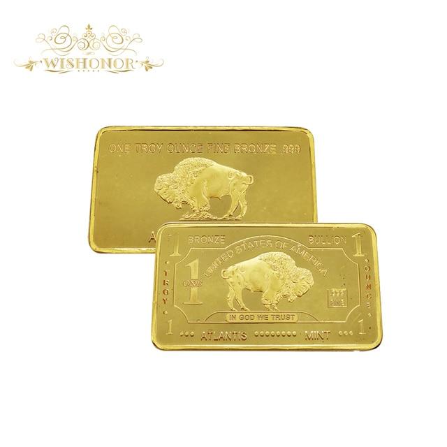 999 Gold 24k Pure Bullion Bar Buffalo U S Dollar 1 Troy Oz Fine Bronze
