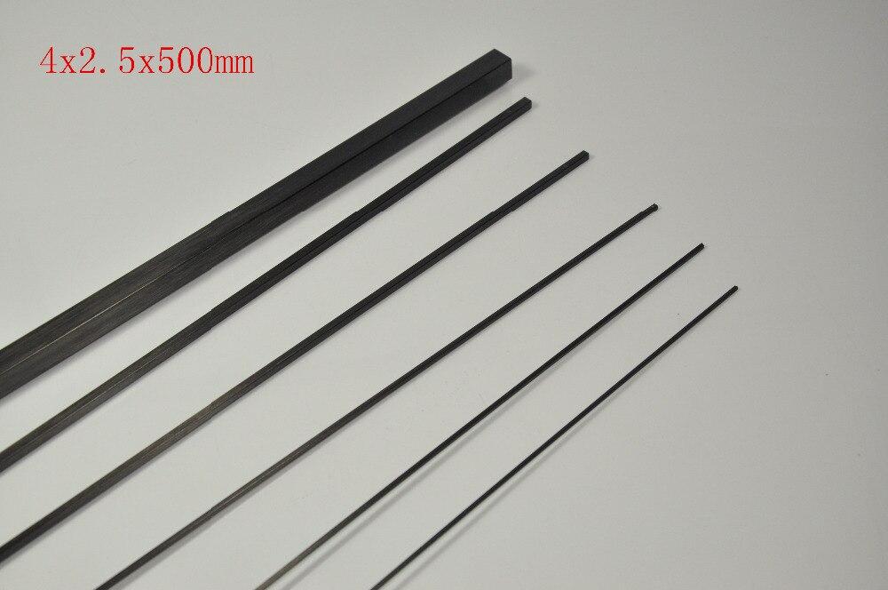 5pcs of 4x2.5x500mm Square Carbon Fiber Tube 5 pcs of p