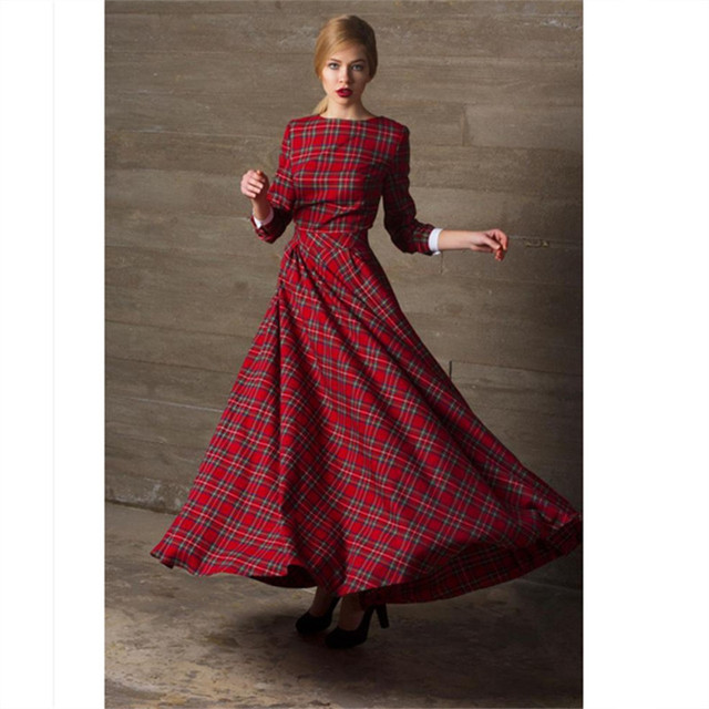 d50da1558f WBCTW Maxi Party Dress Winter Autumn A-Line Red Plaid Check Long Wool  Cotton Plus Size 2019 Vintage Elegant Women Clothing