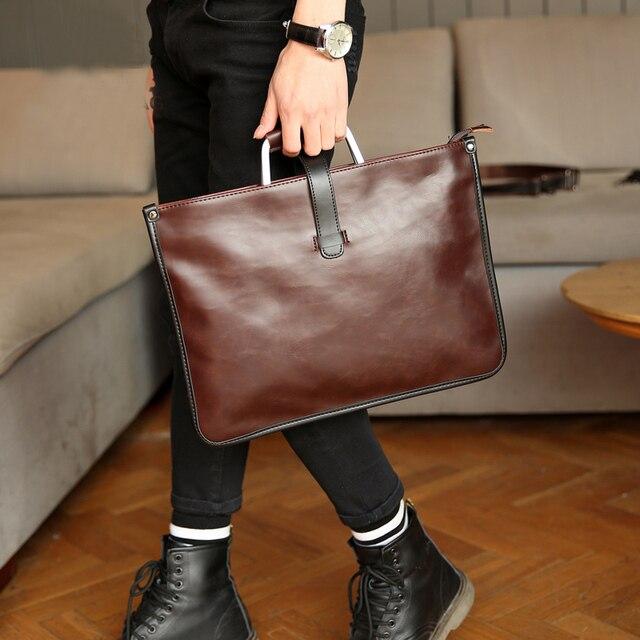 12 Inch Men Simple Pu Leather Leisure Metal Handle Brief Case Crossbody Handbag Laptop Bag Uk