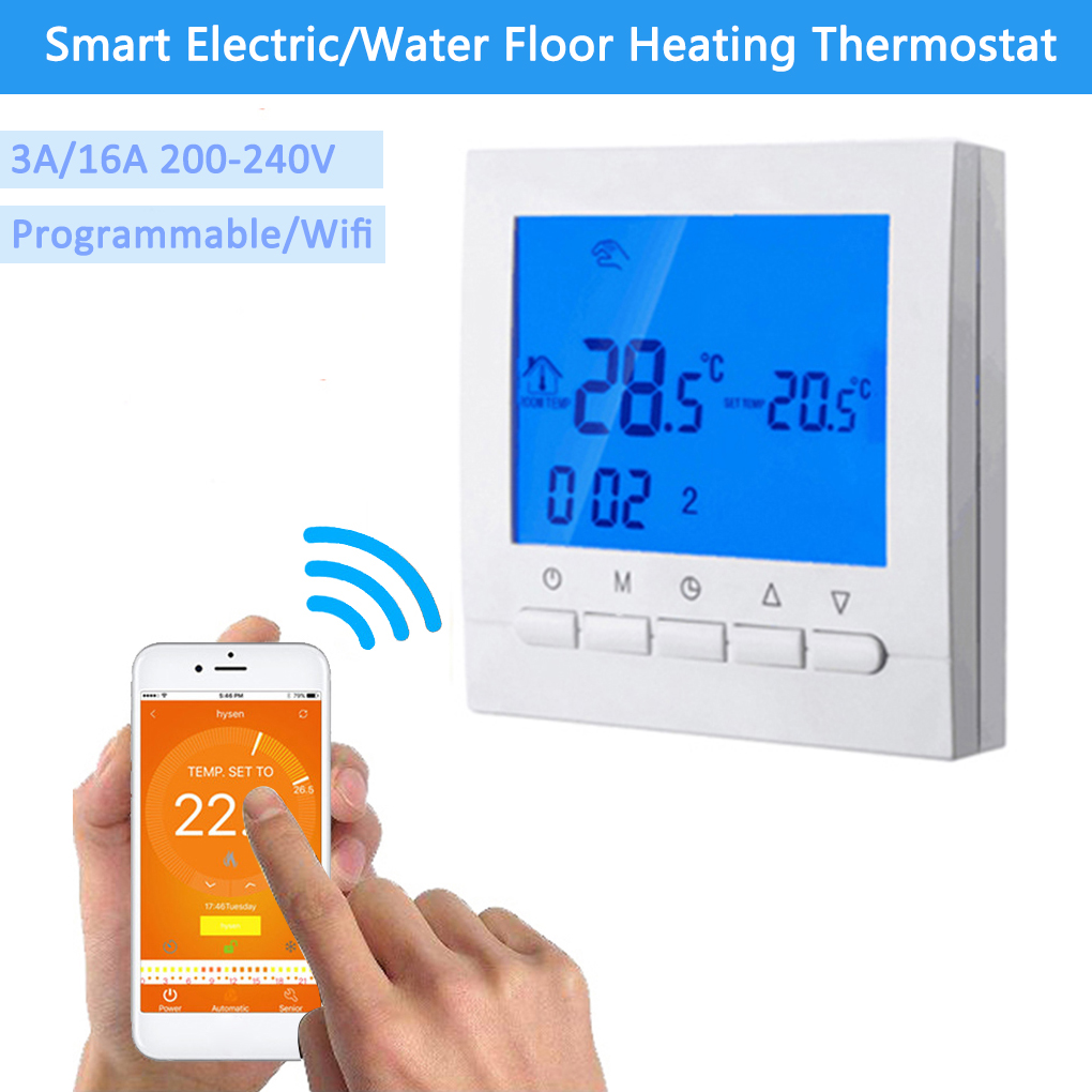 Smart Programmable Wifi Thermostat Electric or Water Floor Heating Thermostat LCD WIFI Temperature Controller Home Automation valve radiator linkage controller weekly programmable room thermostat wifi app for gas boiler underfloor heating
