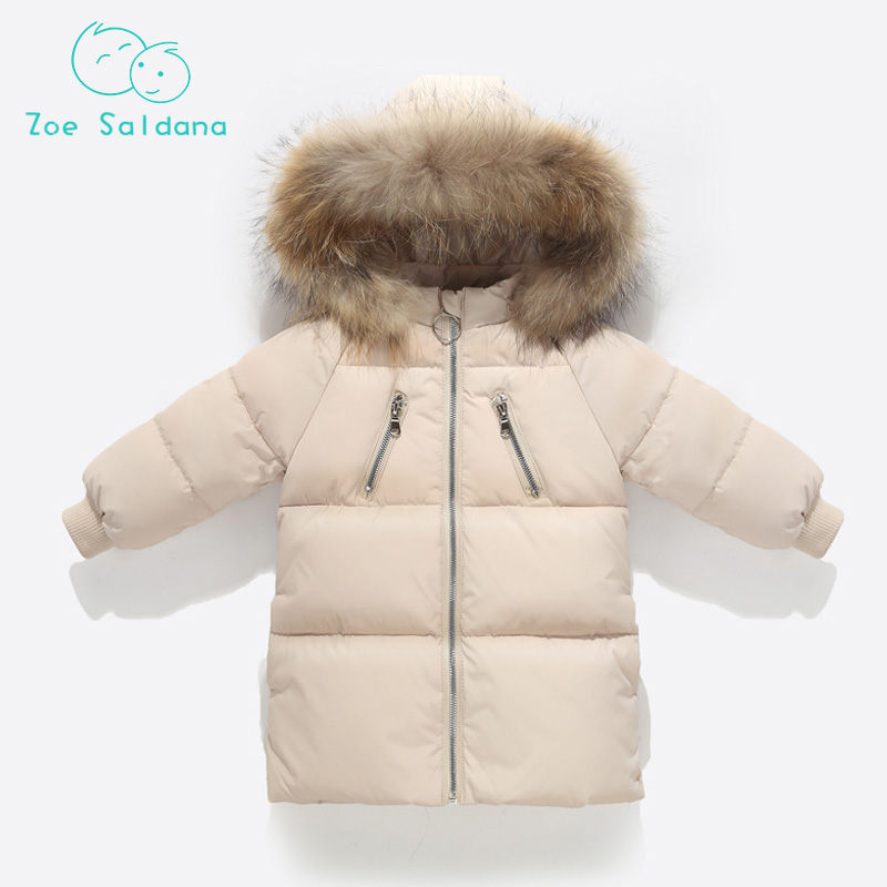 Zoe Saldana 2018 Clothes For Girls Kids Warm Outerwear Duck Down Jacket For Girl Winter Coat Boy Girl Overcoat Clothes Parkas