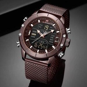 Image 3 - Naviforce relógios masculinos, relógios analógicos digitais de aço inoxidável à prova dágua para homens, relógio esportivo 2019