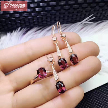 Natural Mozambique Pyrope Garnet jewelry sets for Ladies Genuine Gemstones Beautiful Pendant Ring Drop Earrings S925 silver #208