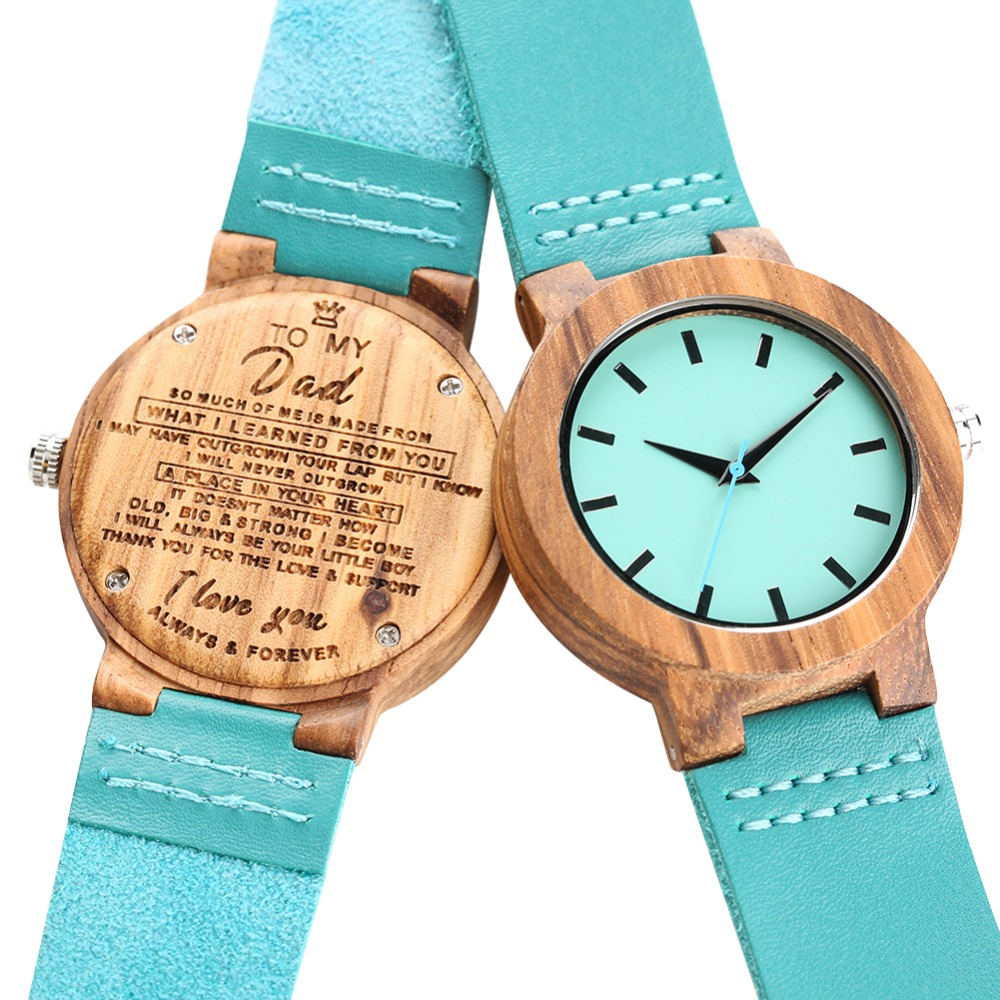 Wooden Watches  Quartz Movement Wristwatch Lightweight Handmade Watch Carving Letter Blue Leather Band Simple Paper Watch Montre
