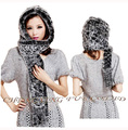 CX-C-17A1 2014 New Arrival Fashion Style Knitted Rex Rabbit Fur Hooded Scarf Hat    ~  Drop Shipping
