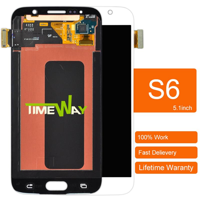 Prix pour Dhl 1 pcs d'origine téléphone intelligent lcd pour samsung s6 g9200 affichage tactile assemblée d'écran bleu