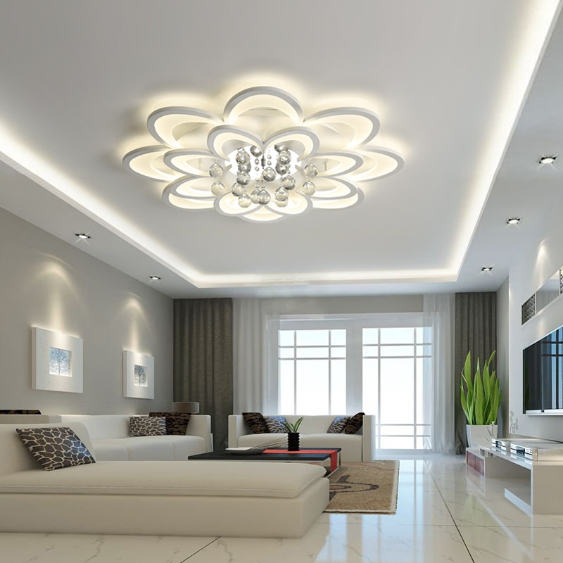 Ceiling Lights Flush Mount Ceiling Light Ceiling Lamps With Remote Control For Living Room Sitting Room Round Modern Lighting Lamparas Dero Jade White Lights & Lighting
