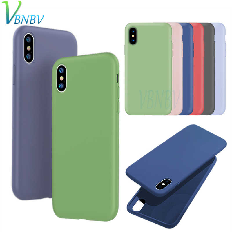 2019 New Luxury soft Color phone case For iPhone 7 8 6 6S Plus Shockproof TPU Liquid Silicone Back Cover for iPhone X XS Max XR