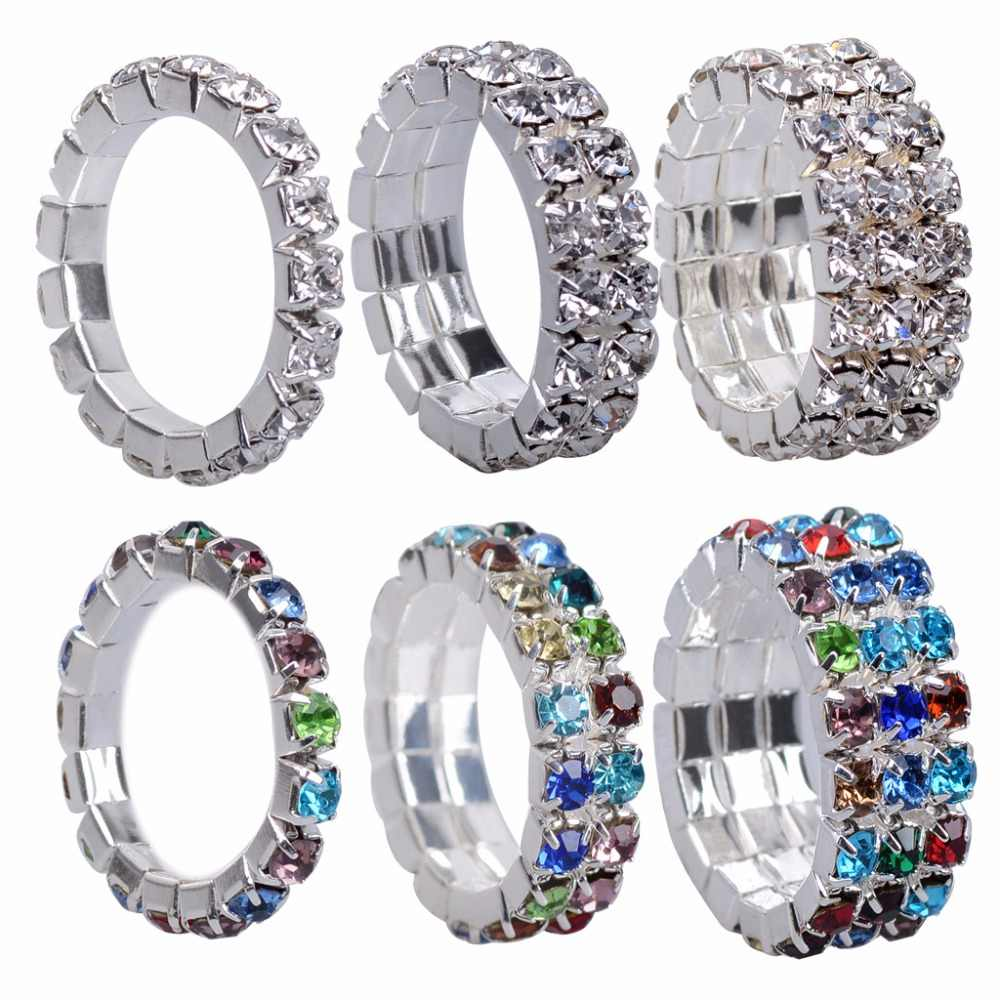 JUCHAO Hot Silver Color Elastic Zircon One Row Rings for Women Rhinestones Elastic Rings Gifts Crystal Ring Drop Shipping