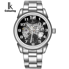 IK Colourin 2017 Hot Sale Luxury Luminous Automatic Mechanical Skeleton Dial Stainless Steel Band Wrist Watch Men Women Gift