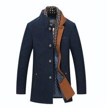 Для Мужчин's Шерстяное пальто зимние длинные Теплое пальто из шерсти со съемным шарфом Бизнес Повседневное Slim Fit Тренч куртка Peacoat пальто