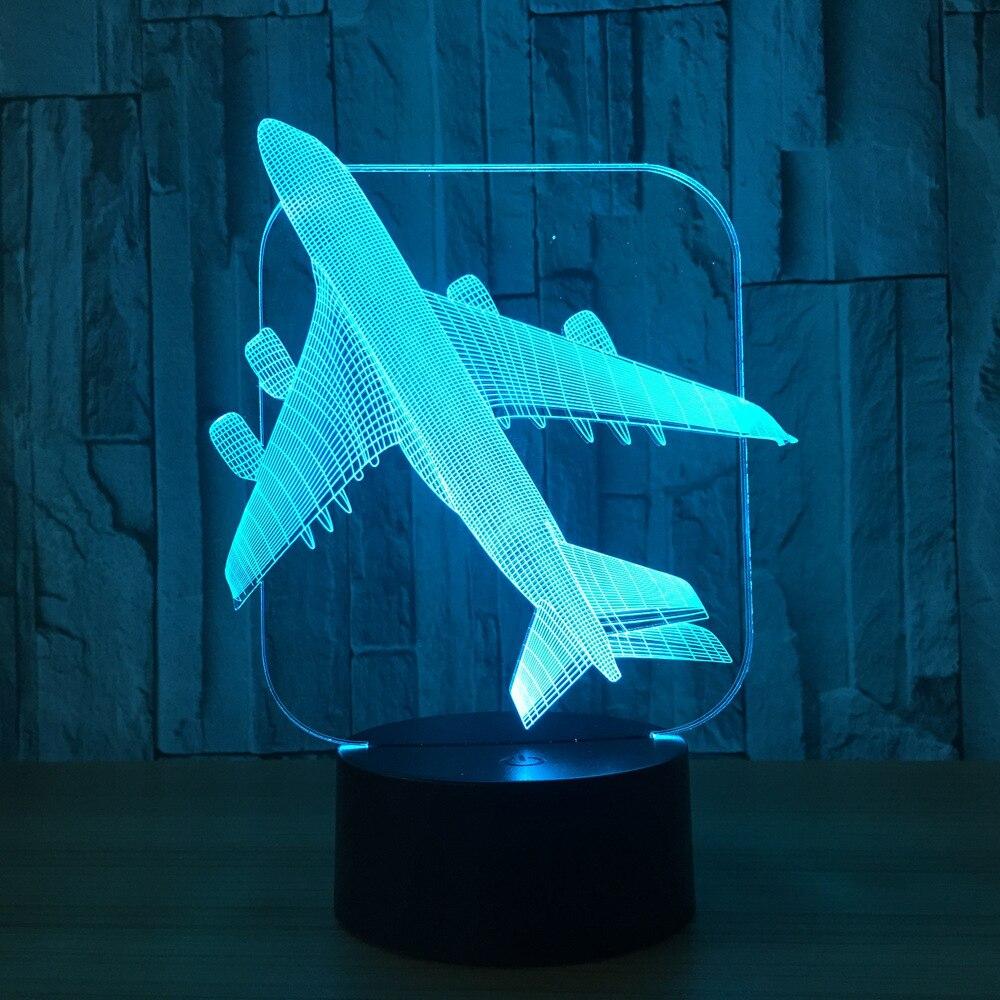 Классная игрушка 3D самолет военный модель Творческий Night Light Touch реактивный самолет настольная лампа LED Иллюзия ночники Бесплатная прямая по...