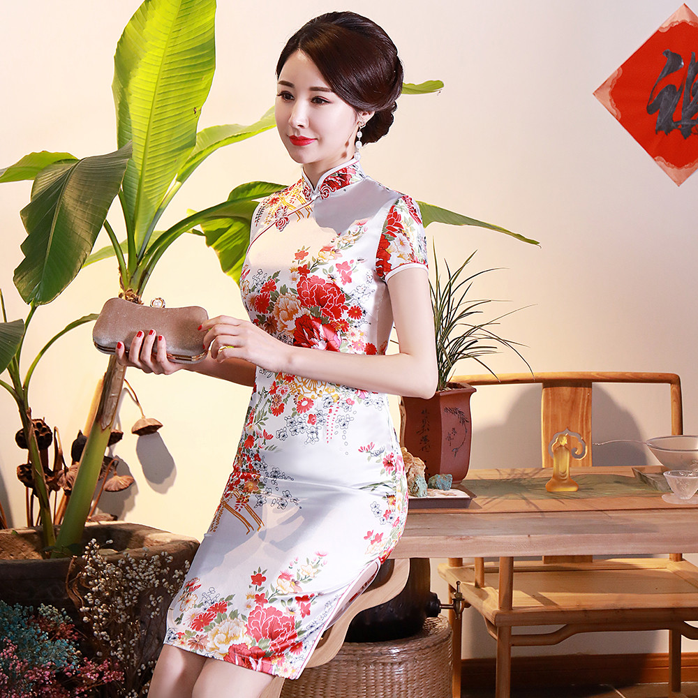White Elegant Slim Female Satin Cheongsam Vintage Chinese Style Dress Gown Plus Size Print Flower Short Qipao 3XL 4XL 5XL 6XL