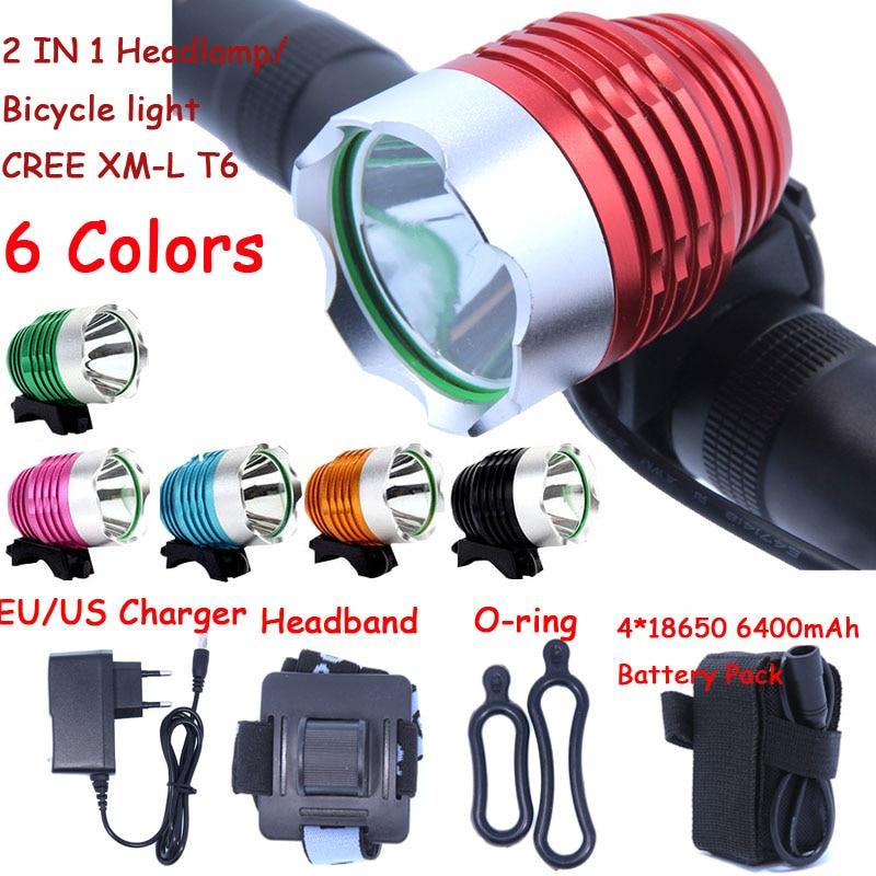 Hot Sale 1800 Lumen Super Bright XML T6 LED Bike Light Headlamp Headlight Waterproof 3 Mode LED Bicycle Light Head Lamp 6 colors