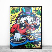 Scrooge DJ Monopolyingly MiMo Street Art Graffiti Duck Dollar Oil Painting Canvas Wall Picture for Bedroom HD Print Home Decor