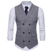 2019 Brand Suit Vest Men Jacket Sleeveless Beige Gray Brown Vintage Tweed Vest Fashion Spring Autumn Plus Size Waistcoat Male