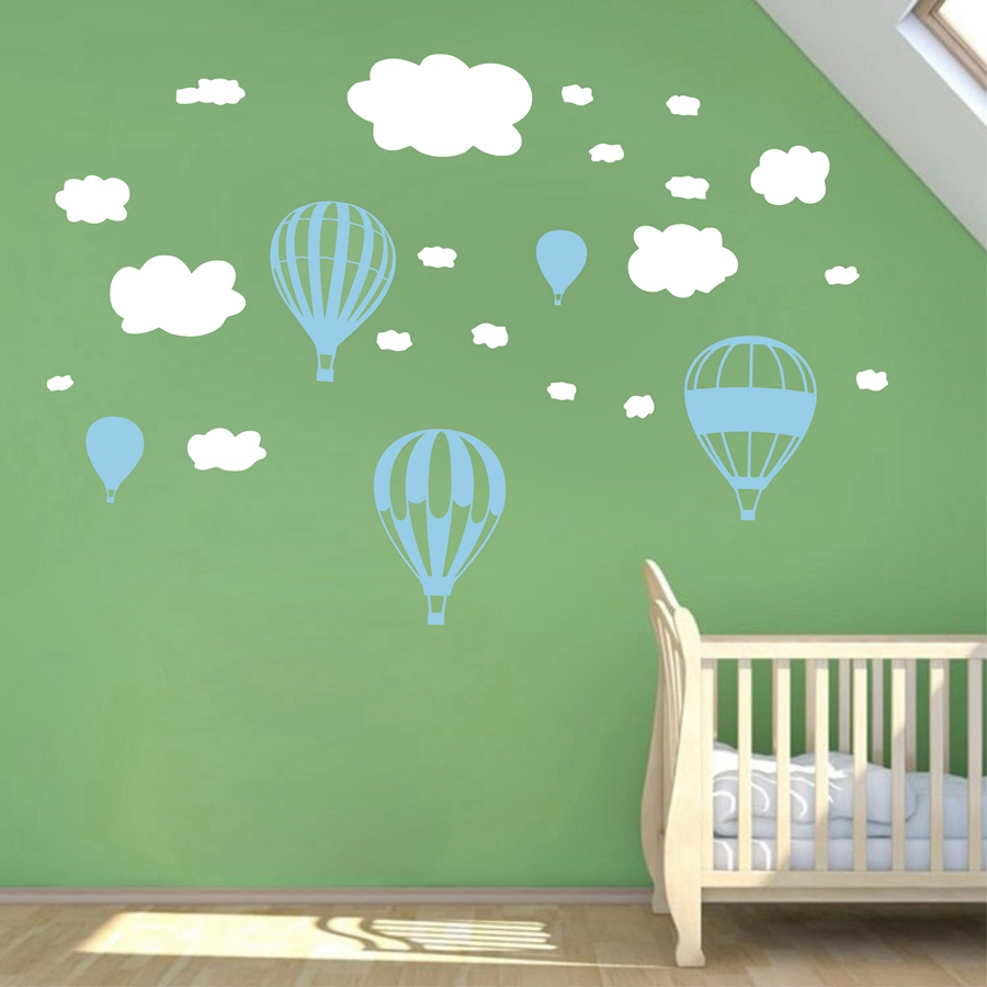Hot Air Balloons Wall Stickers Nursery Baby Room White Clouds Wall Vinyl  Decal Decor Decoration(