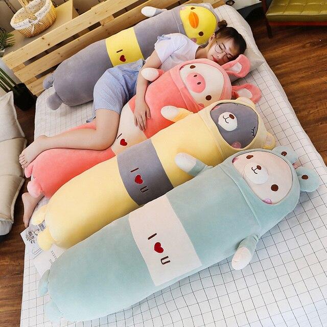 ¡Novedad! Viñetas de animales suaves de 65/90/120cm, cojín bonito, oso de peluche, cerdo de pato, cojín de peluche, regalo para el día de nacimiento