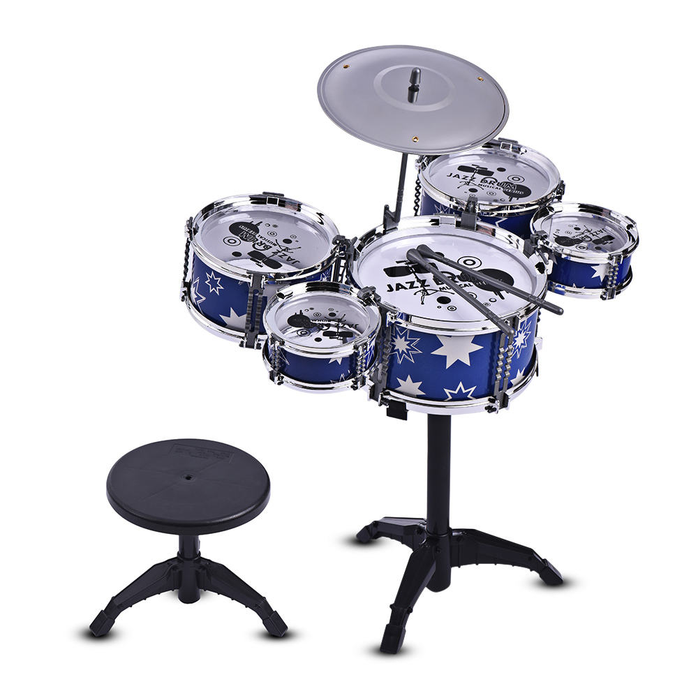 US $18 7 35% OFF Children Jazz Drum Kit Drum Set for Kids Musical  Educational Instrument Toy 5 Drums + 1 Cymbal with Small Stool Drum  Sticks-in Drum