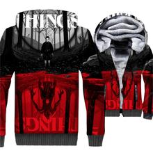 Mens Jacket 3D Print Two-worlds Hoodie Men Upside Down Hooded Sweatshirt Winter Thick Fleece Warm Zip up Hip Hop Coat zip up two tone hooded track jacket