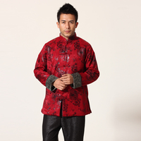 New Arrival Burgundy Chinese Traditional Men Jacket Kung Fu Coat With Dragon Mandarin Collar Overcoat Size