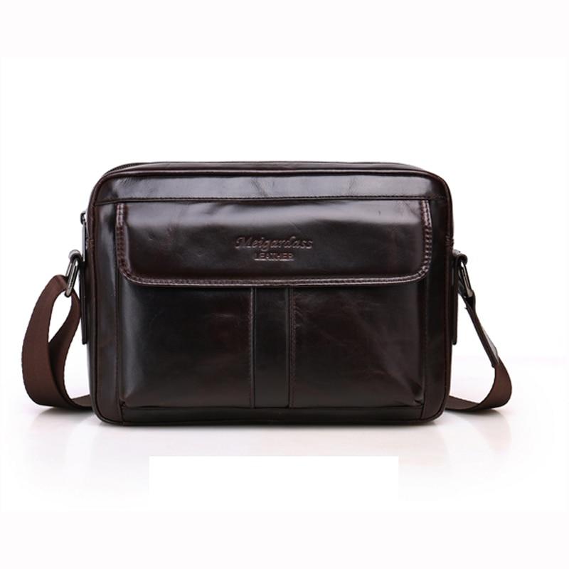 MEIGARDASS Genuine Leather Mens Bag For Business Small Messenger Bags Fashion Casual Shoulder Bag Handbags for Men Bag 7066