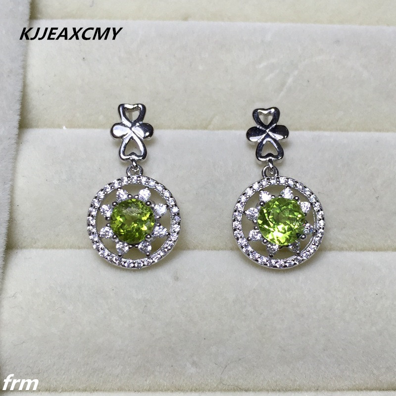KJJEAXCMY Fine Jewelery NATURAL PERIDOT EARRINGS wholesale 925 sterling silver inlay professional color treasure wholesale