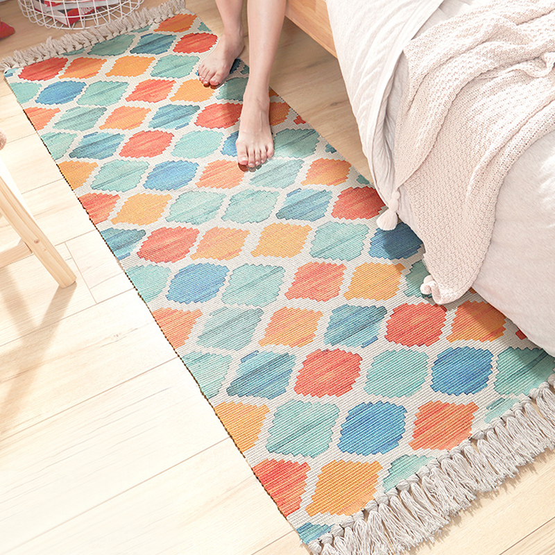 Living Room Carpet Cotton Carpet Decorative Mat Fresh Cotton Contracted Kitchen Bedroom Nordic Style